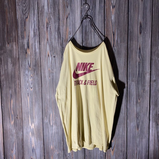 [NIKE]light yellow big logo T shirt