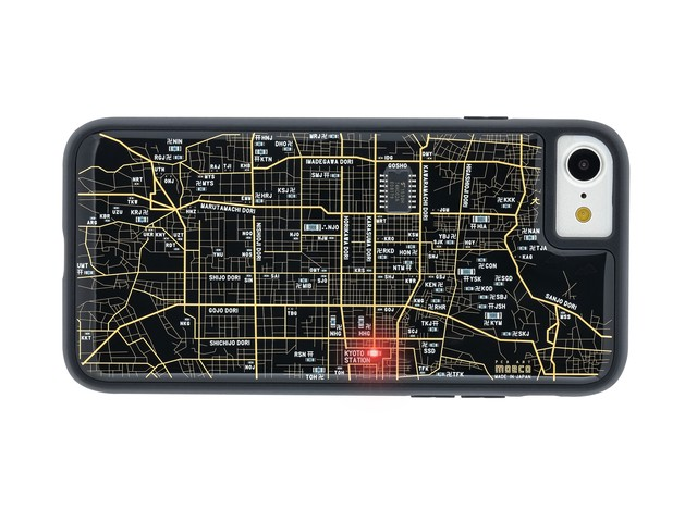 FLASH 京都回路地図 iPhoneSE(第2世代)/7/8 ケース 黒【東京回路線図A5クリアファイルをプレゼント】