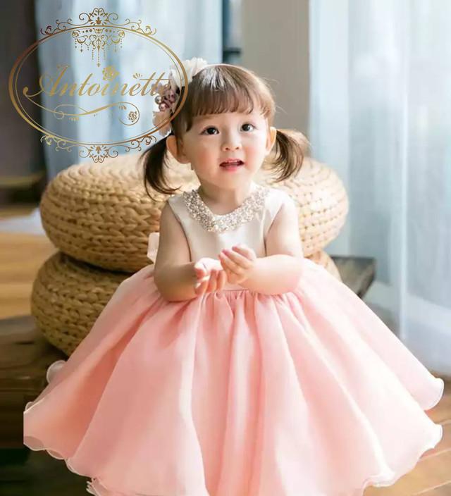 セレモニードレス 子供用 ウェディング フラワーガール パール ビジュー ホワイト
