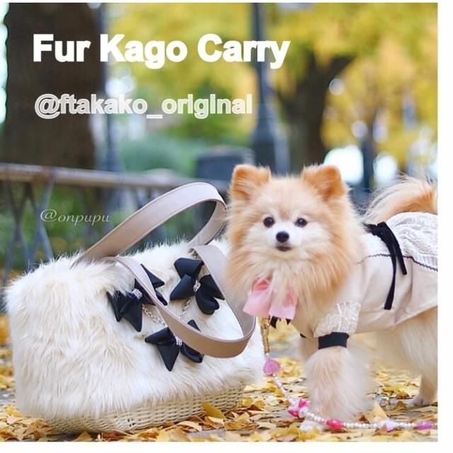 2キロ迄サイズ/シンプルタイプ・ドッグキャリーエコ(フェイク)ファーカゴ・ファーの色3色
