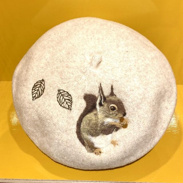 【水仙舎】羊毛刺繍ベレー帽(リス)