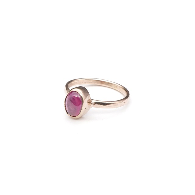 SINGLE PETIT STONE NON-ADJUSTABLE RING RUBY 002