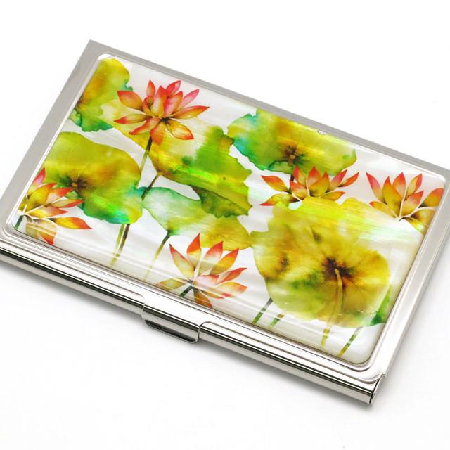 天然貝 名刺カードケース(蓮の花)<螺鈿アート>