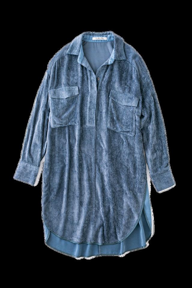 リラックスコーデュロイシャツ <ブルー>