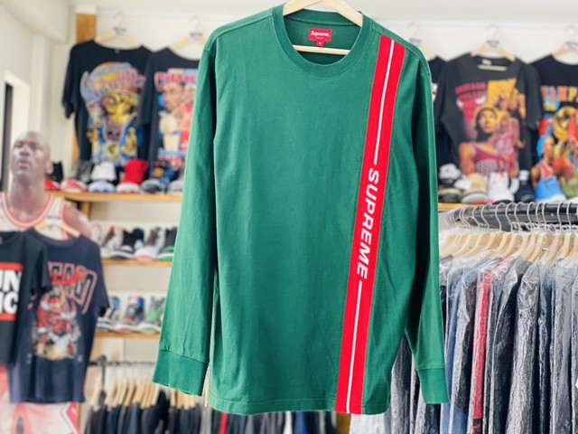 SUPREME VERTICAL LOGO STRIPE L/S TOP GREEN MEDIUM 46JG7584