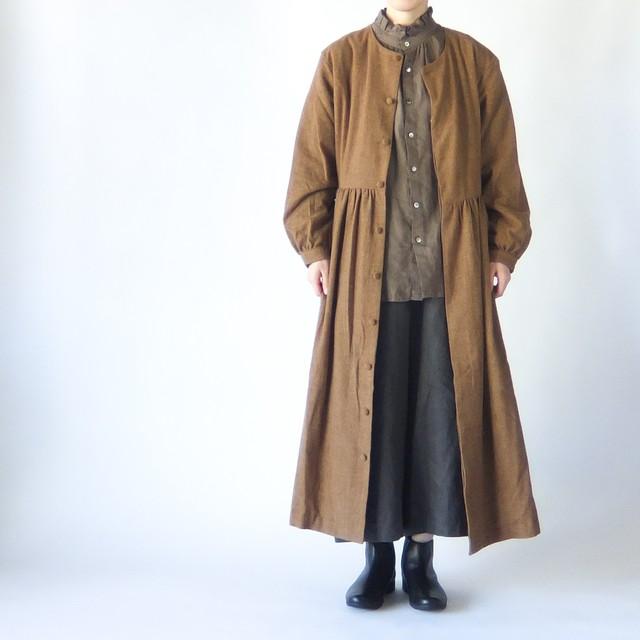 HAVERSACK - ウエスト切り替えギャザーワンピースコート - Camel / Grey