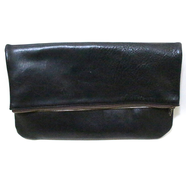 Cow Leather Magnet Button Clutch Bag