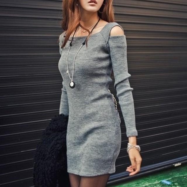 【ワンピース】超人気オシャレセクシー長袖タイトスカート着瘦黒灰せニットワンピース33599751