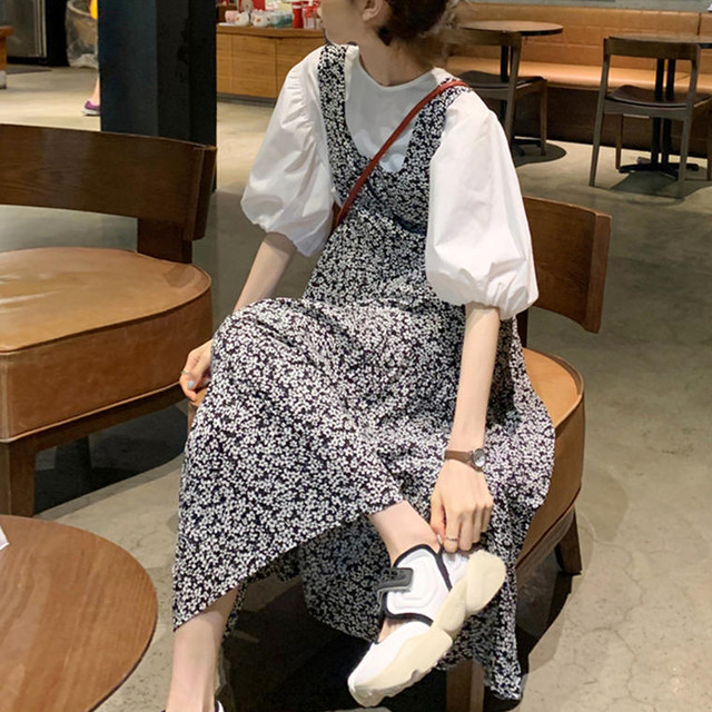 【送料無料】 楽ちんガーリー♡ ボリューム袖 ホワイト シャツ × 小花柄 ロング ワンピース モノトーン セットアップ
