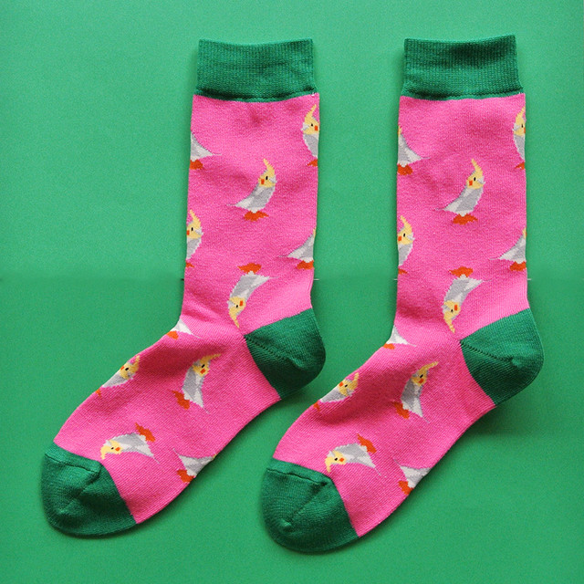 新商品《鳥/インコ》 靴下 オカメインコ 23〜25cm KAKUKAKU×Miita TINY ピンク