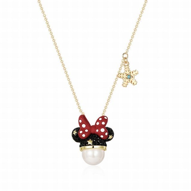 ネックレス Disney ディズニー コラボ ミニーマウス ペンダント レディース ミニー クロスチェーン 合金 メッキ かわいい アクセサリー / Disney Minnie necklace and collarbone chain (DTC-608469974820)
