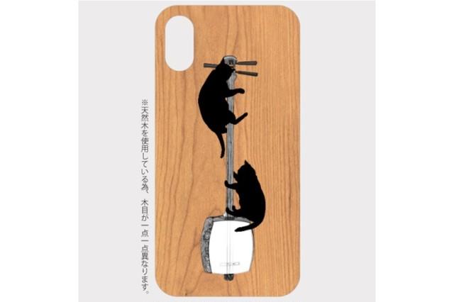 (iPhone用)三味線と黒猫の木製スマホケース