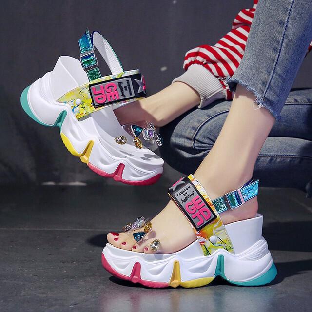 【シューズ】高級感ファッション丸トゥ人気合わせやすいラインストーンサンダル29857284