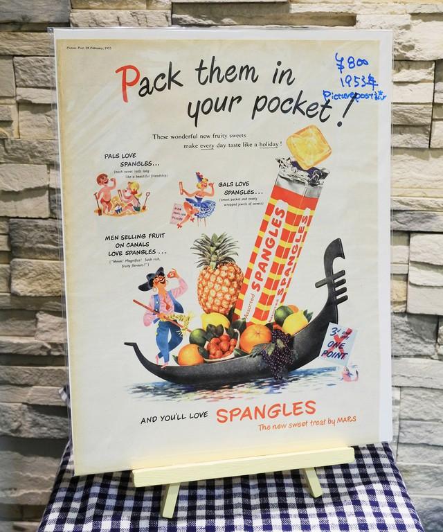 【Vintage品】雑誌切り抜き広告 SPANGLES 1953年 イギリス Picure Post誌 /0234w