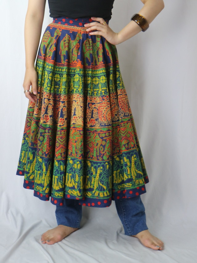 Indian cotton flare skirt【5799】