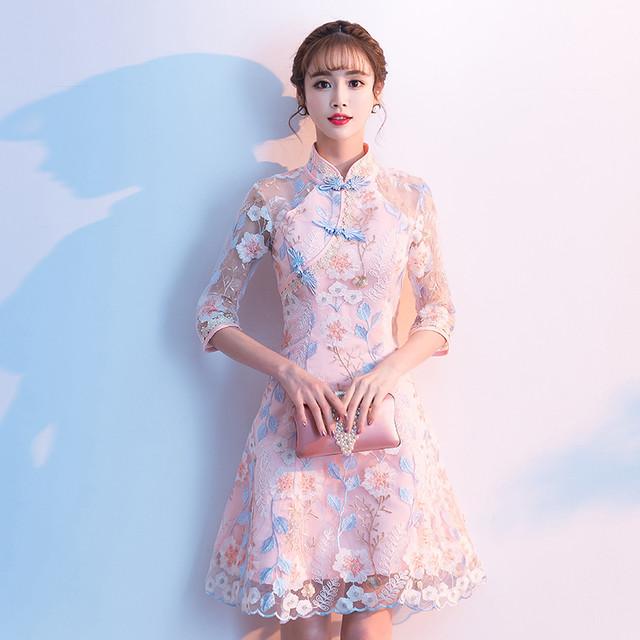チャイナ風ドレス スタンドネック 七分袖 ショート丈 刺繍入り レース 二次会 女子会 同窓会 改良型チャイナドレス 大きいサイズ S M L LL 3L ピンク