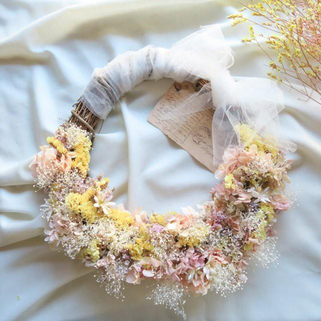 wedding wreathbouquet pink3点set  ウェディングブーケ ドライフラワー リース 結婚式