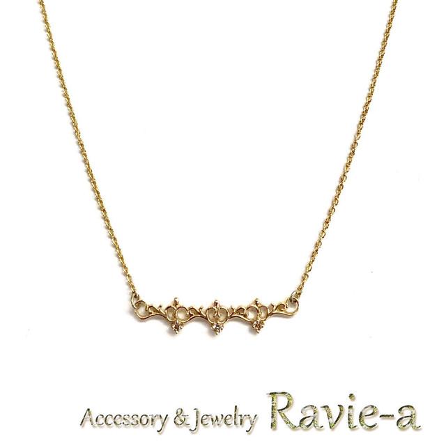 nt46pn-d K10イエローゴールドアラベスクティアララインダイヤモンド華奢デザインネックレス
