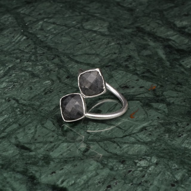 DOUBLE STONE OPEN RING SILVER 015