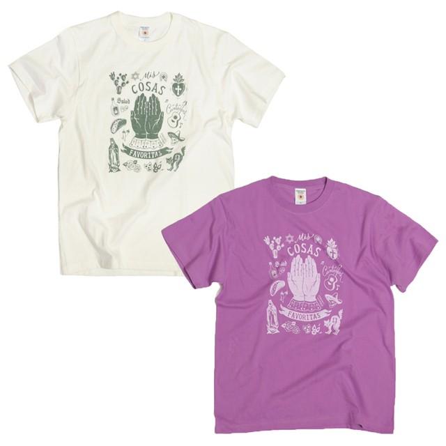 FAVORITAS スペイン語 メキシコ Tシャツ パープル(バイオレット)・オフホワイト MEXICO
