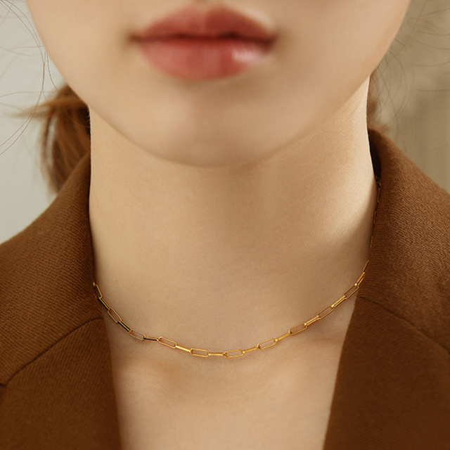 「order」square chain necklace n041