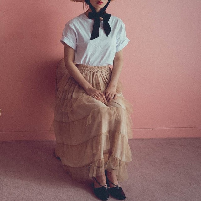 【lottie made】tiered tulle long skirt (AP39F1008)