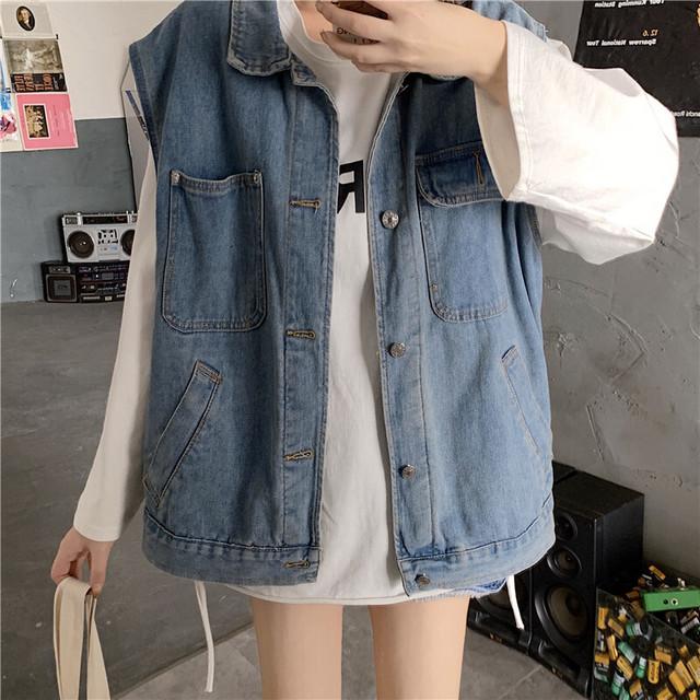 デニムベスト デニムジャケット 韓国ファッション レディース ベスト ノーカラージャケット ジージャン Gジャン / Denim vest jacket loose sleeveless vest (DTC-611766440465)