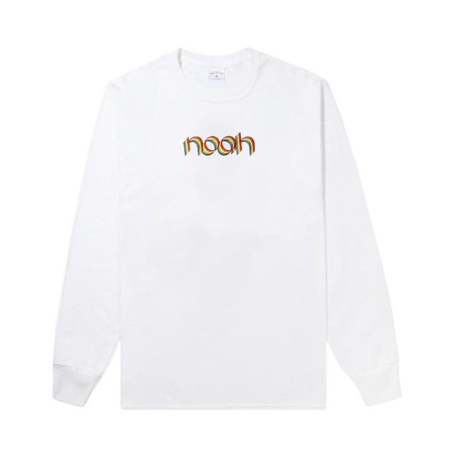 Rainbow Embroidered Long Sleeve Tee(White)