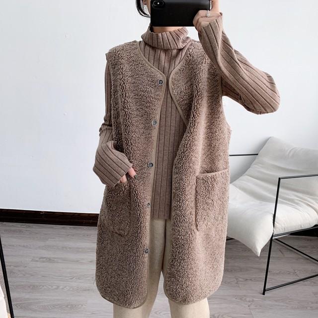 ベスト ミディ丈 ボア ノーカラー ボタン 無地 5色 シンプル カジュアル もこもこ あたたか 体型カバー ゆったり 羽織 アウター 秋 冬 お出かけ