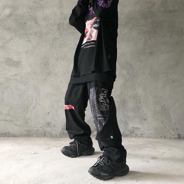 【都谷シリーズ】カジュアルパンツ ボトムス M L LL 切り替え ブラック 黒い ゆったり 男女兼用 カップル服