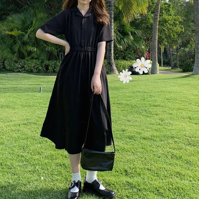 【青檸檬シリーズ】★ワンピース★ ドレス シンプル 無地 ロング丈 半袖 大きいサイズ ブラック 黒い 着痩せ