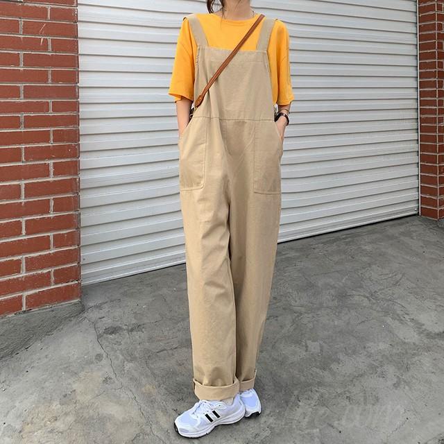 【ボトムス】韓国系無地ハイウエストレギュラー丈カジュアルパンツ42946995