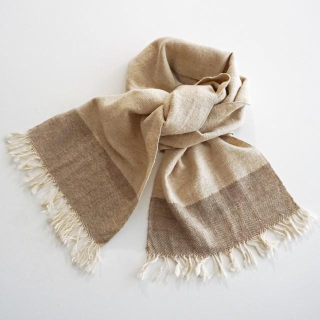 手織りのパシュミナマフラー 横ストライプ柄