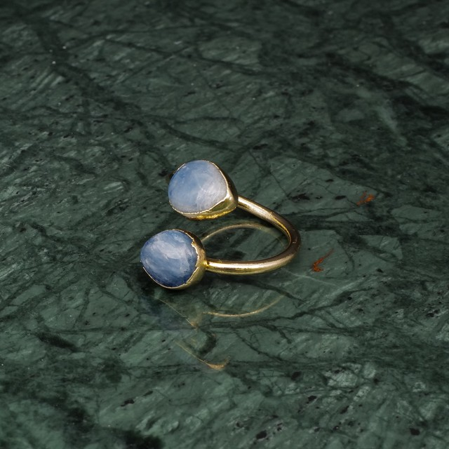 DOUBLE STONE OPEN RING GOLD 034