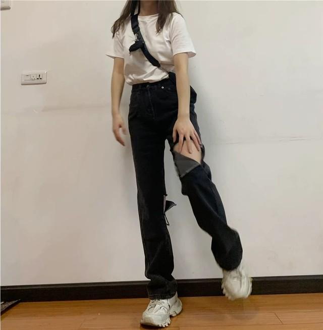 【ボトムス】デニムダメージ加工透かし彫りファッションカジュアルパンツ28387926