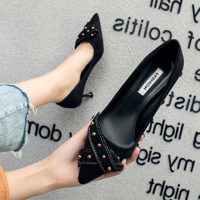 【shoes】リベット飾りスエード通勤ポインテッドトゥ大人気パンプス 22469963