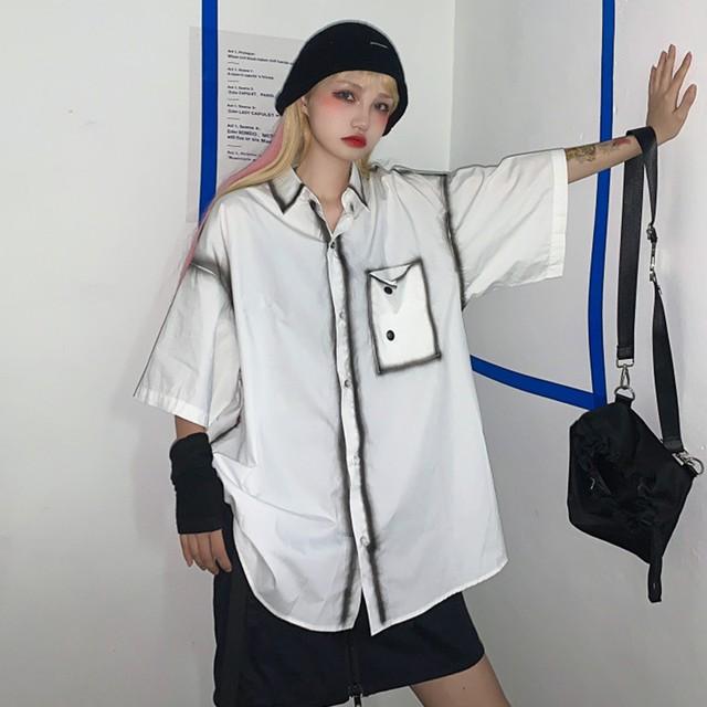 【トップス】レトロ半袖シングルブレストPOLOネックシャツ42487993