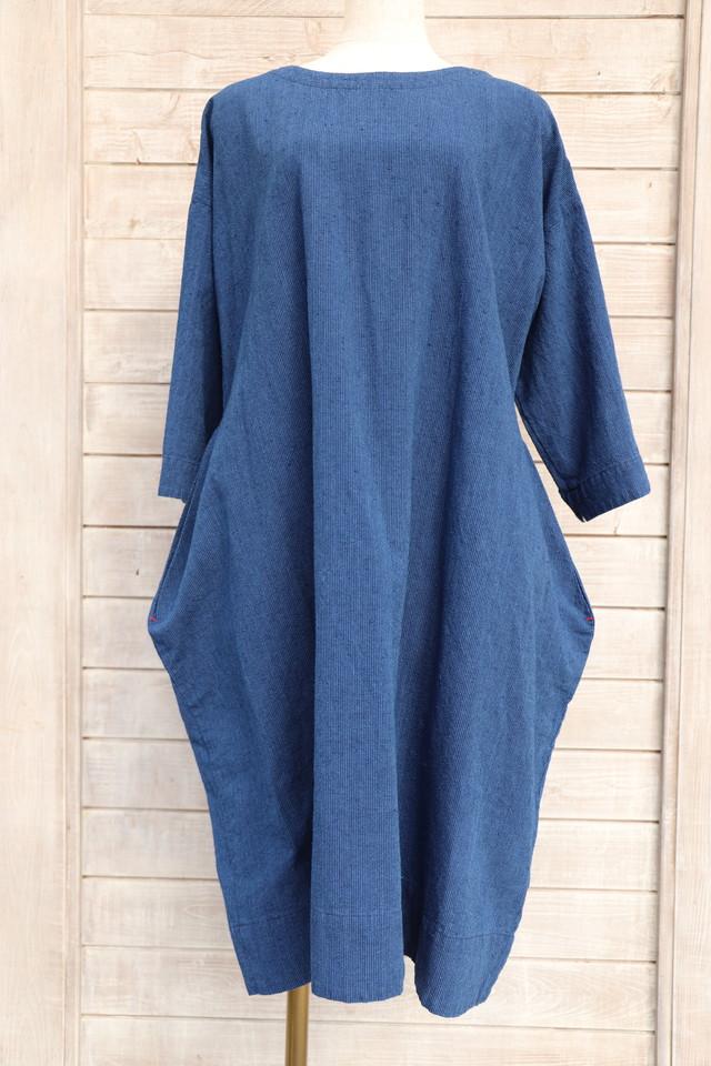 ワンピース OP25 バルーンワンピー 藍染絣柄 M29