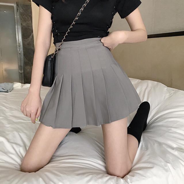 【ボトムス】ファッション無地ハイウエストプリーツスカート19005190