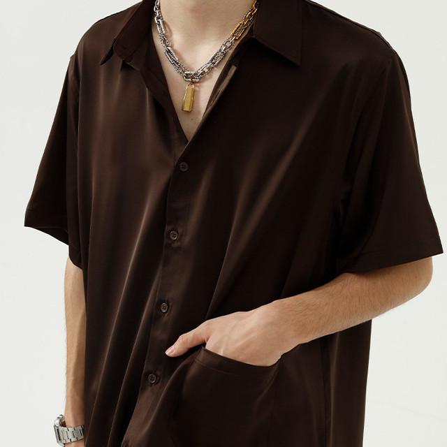 3:AM セレクトアイテム メンズ   スムース質感 リラックスフィットシャツ No.0023