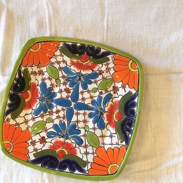 メキシコ グアナファト焼の四角プレート グリーンI