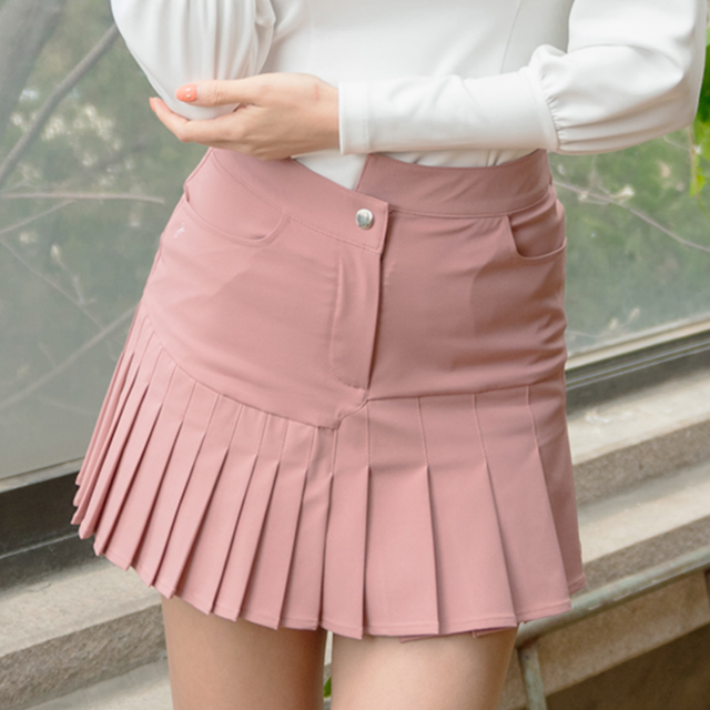 【再入荷】Unbalanced Pleated Skirt  (Pink)