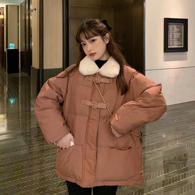 【送料無料】あったかダウン♡ かわいい もこもこ ファー付き ショート ダウンジャケット ホワイト  ピンク