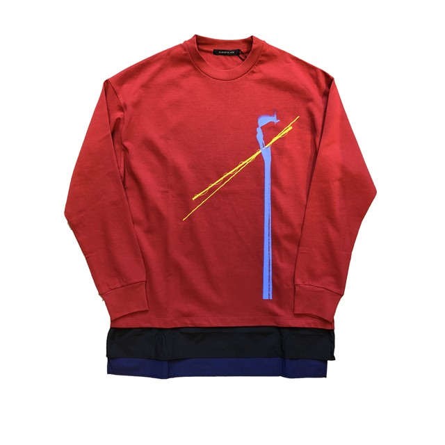 ALMOSTBLACK RED LONG SLEEVE TEE