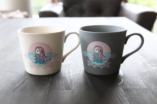 温感『アマビエ マグカップセット A  白マット×ライトグレー』贈り物 温度で変化 不思議 マジック コーヒ 演出 インスタ映え マグ 悪霊退散