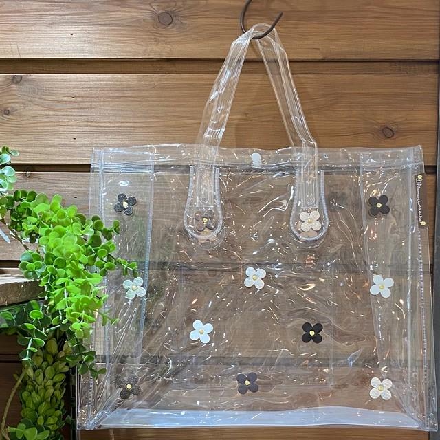 【オンライン限定価格¥2,970→¥2,200】No393クリアビニールバッグ横型(花ホワイト)