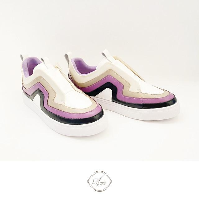再入荷 マルチカラー3カラースリッポン Purple