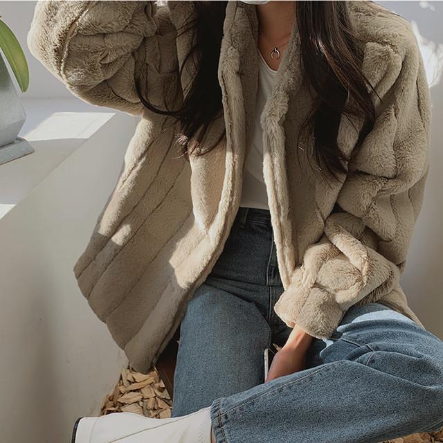 【送料無料】高みえ♪フェイクファージャケット♡アウター モコモコ ストライプ オンオフ デート  女子会
