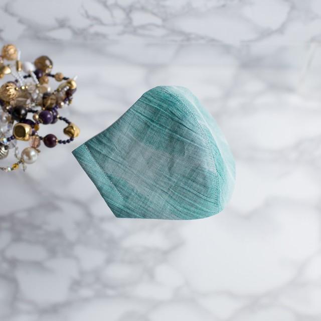 PSNY 送料無料 クレープ ウェーブ・グリーン コットンリネン 花粉 不織布フィルター 接触冷感 楊柳 高級 美人 ビリジアン グラスグリーン 美しい おとな 立体 ますく 大人 マスク -PW02