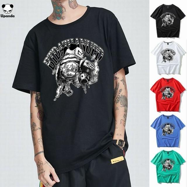 【5カラー】ユニセックス メンズ/レディース 半袖 Tシャツ パンダプリント UPANDA ストリート系 / Large size comfortable sweat absorption T-shirt (DCT-596394236911)